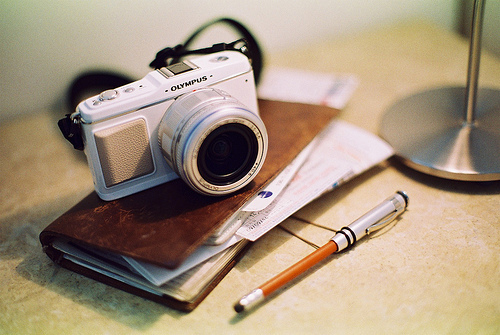 agenda, camera, notebook, olympus, ophidiophobic, pen, photo, photographer, photography, table