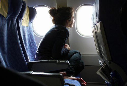 airplane, cute, girl, window