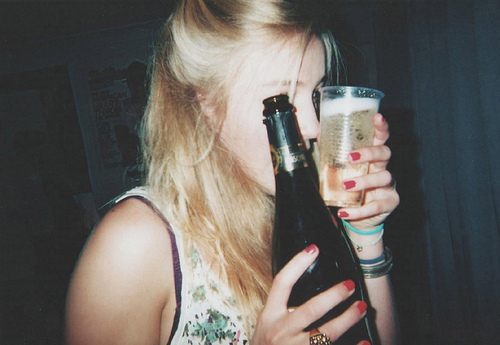 alcohol, beer, blonde, girl, vintage