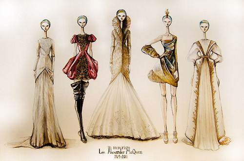 alexander mcqueen, art, fashion, illustration, sketches