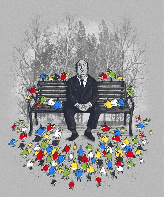 alfred hitchcock, angry birds, art, birds, black, blue, colorful, cute, funny, green, hitchcock, horror, illustration, mystery, park, park bench, red, suit, suspense, trees, white, yellow