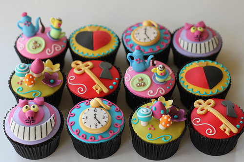 alice in wonderland, cheshire, cupcake, cute, tea, tea party