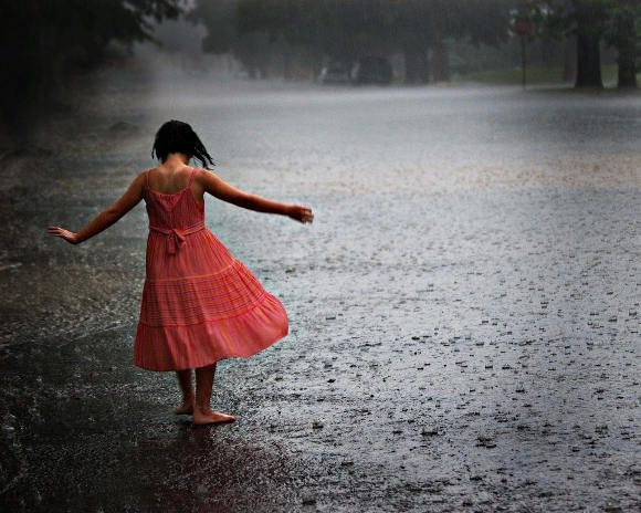 allone, dress, girl, picture, rain
