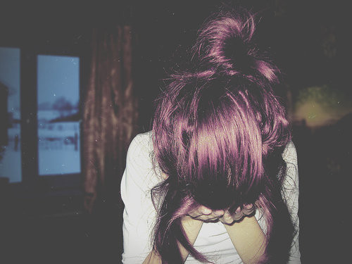 alone, alternative, girl, person, purple hair