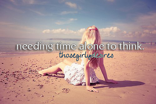 alone, beach, girl, think