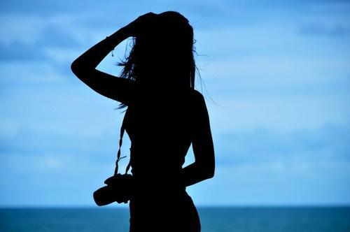 alone, black, blue, camera, girl