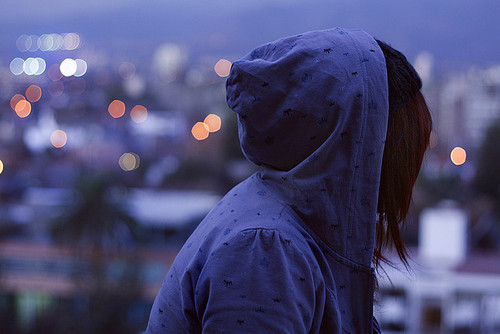 alone, city, darkness, girl, lights, nice, style