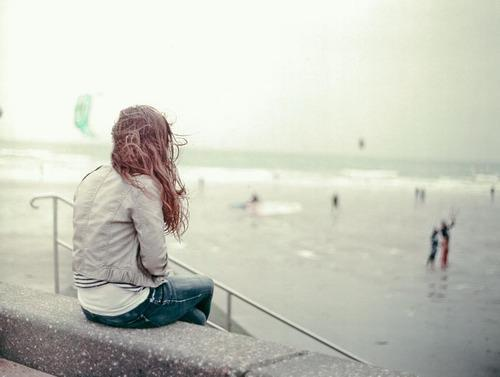 alone, girl, hair, lonely, sad, sea, think