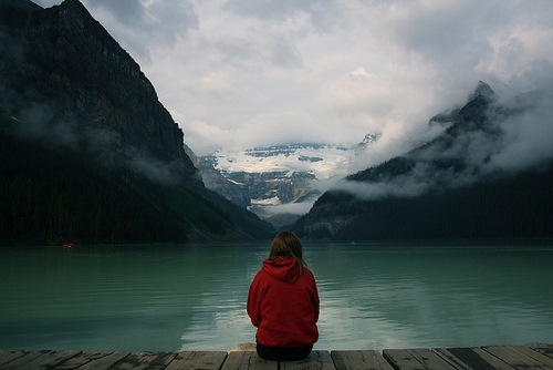 alone, girl, lake, mountain, nature, water