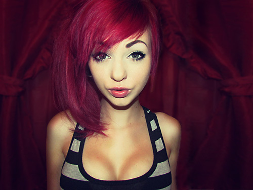 alternative, aww, beautiful, colored, colored hair, colorful, colorful hair, coloured, coloured hair, cute, dye, dyed hair, girl, gorgeous, hair, hair styles, hairstyle, jessieblush, makeup, pink, pink hair, red hair, sexy, stop it, stripes, top