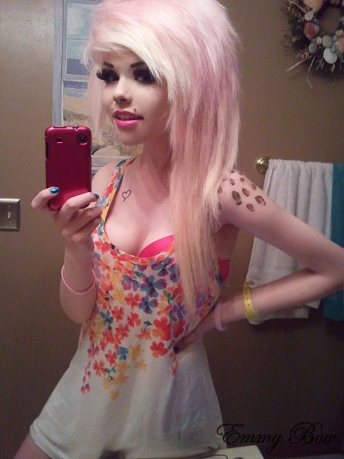 alternative, beautiful, colored hair, colorful, colorful hair, coloured hair, cute, dye, dyed hair, eyes, girl, gorgeous, hair, hairstyle, makeup, pastel, pastel hair, phone, piercing, pink, pink hair, rose, rose hair, scene hair, sexy, tattoo