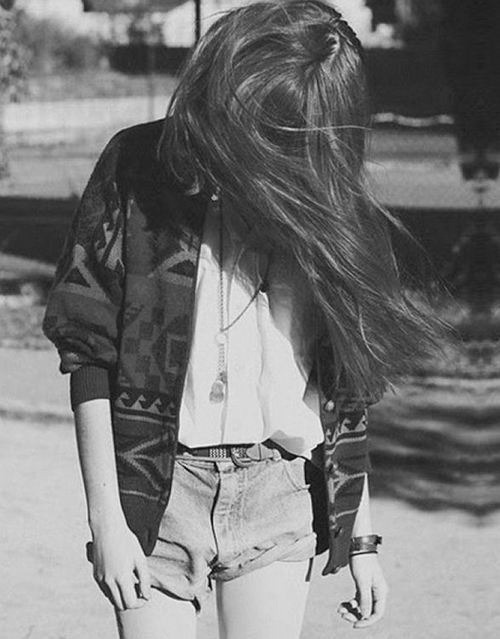 alternative, black and white, brunette, clothers, cute, fashion, girl, hair, hipster, rocker, shirt, shorts, vintage