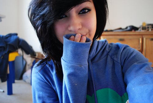 alternative, black hair, blue, girl, hair, hand, picture, smile, sweater