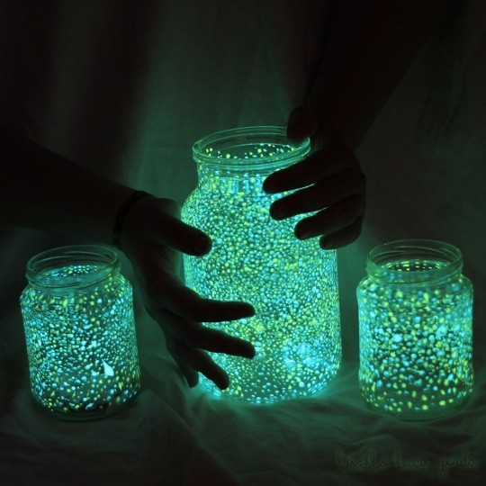 amazing, beautiful, colorful, cute, diy, glow in the dark, glowing, glowing jars, good idea