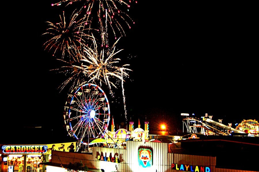 amusement park, beach, beautiful, carousel, ferris wheel