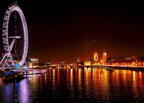 amusement park, england, ferris wheel, fun, light, lights, london