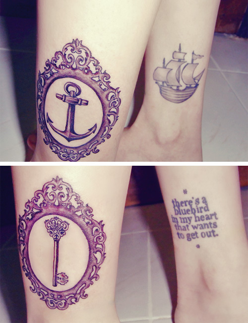 anchor, boat, key, ship, tattoo