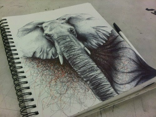 animal, awesome, draw, drawing, elephant, illustration