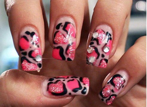 animal print, barbie, gems, nails, pink