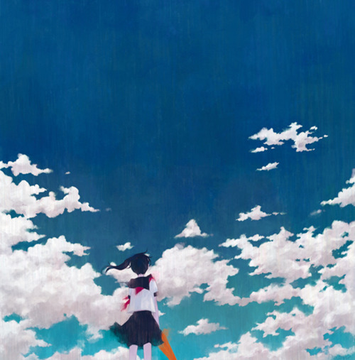 anime, art, awesome, beautiful, blue, clouds, cute, girl, manga, orange, perfect, picture, red, sky, umbrella, uniform, white, wind