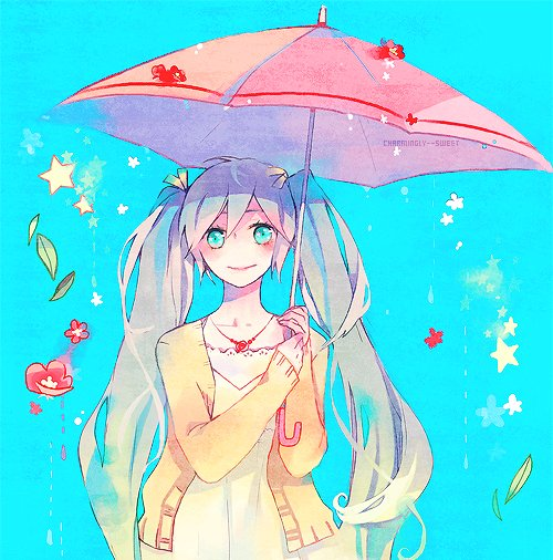 anime, art, blue hair, cute, miku hatsune