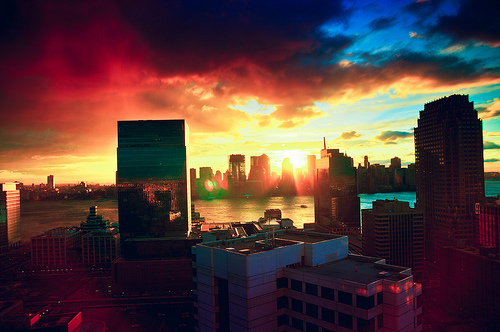 apartament, beautiful, blue, city, color, cute, girl, love, new york, photo, photography, pretty, red, sky, sun, sunrise, sunset, text, vintage