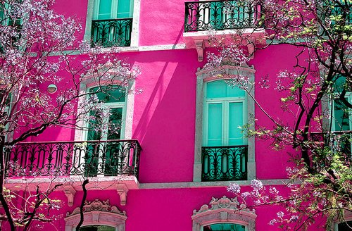 apartment, architecture, cherry blossom, cute, dreams, flowers, green, house, pink, thats hot, vintage, wonderland