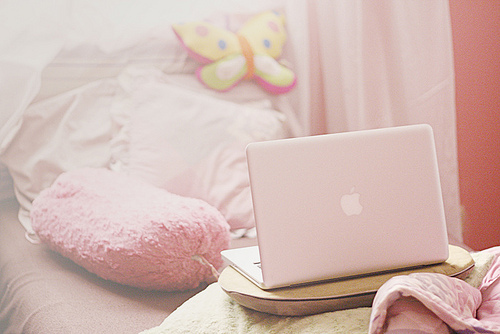 apple, bed, laptop, rose