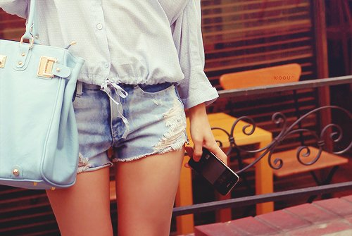 around the teenagers, bag, blue, clothes, fash, fashion, girl, hot pants, hot short, jeans, photography, pics, shorts, teen