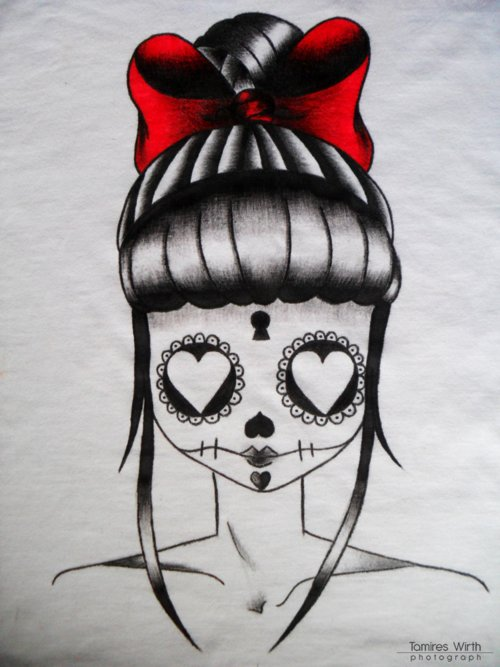 art, arte, black, bow, camiseta, cute, tshirt, photograph, red, girl, desenho, vintage, photography, skull tattoo, style, hair, tie, tattoo, drawing, pintura, old school, tattoo old school, love, skull, pretty, heart, white, sweet