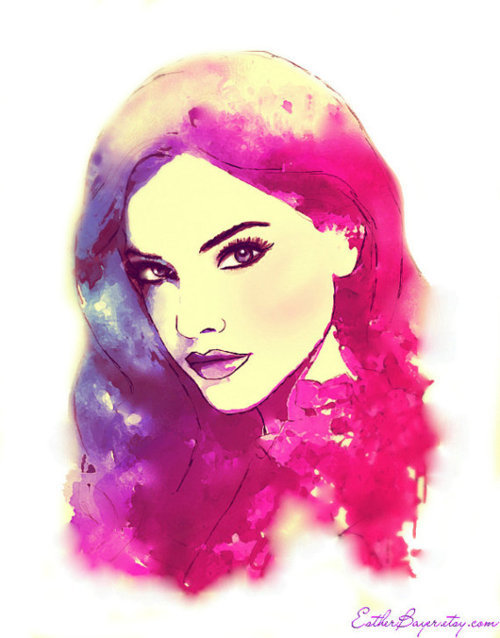 art, barbara palvin, beautiful, fashion illustration ...