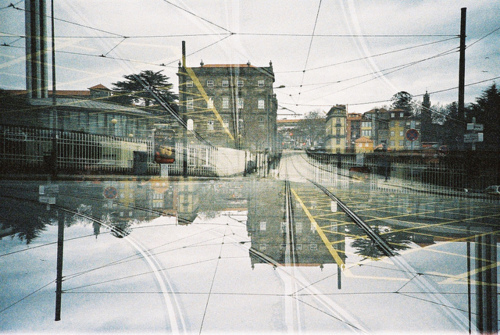 art, beautiful, buildings, cool, double, double exposure, film, hipster, houses, indie, landscape, photo, photography, railway, railways, sky