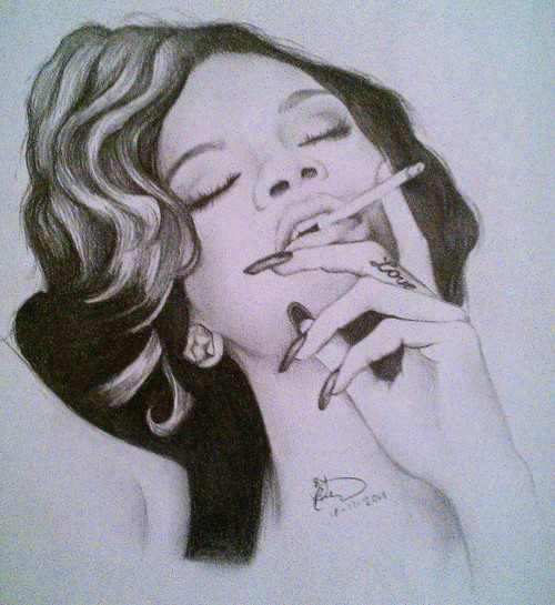 art, beautiful, cigarette, draw, fan