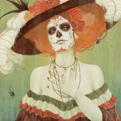 art, black widow, calavera, catrina, day of the dead, dia de muertos, feathers, flowers, hat, lady, necklace, painting, skeleton, skull, spiders, tattoo, woman
