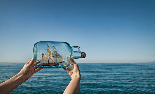 art, blue, boat, bottle, hands