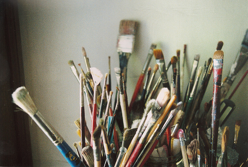 art, brush, paint brushes and vintage