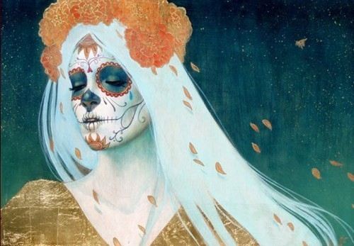 art, calavera, catrina, day of the dead, dia de muertos, flowers, lady, leaves, painting, petals, skeleton, skull, tattoo, woman