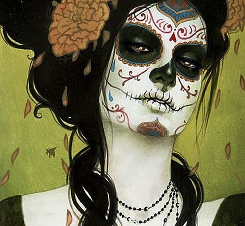 art, calavera, day of the dead, dia de muertos, flowers, lady, leaves, necklace, painting, petals, skeleton, tattoo, woman