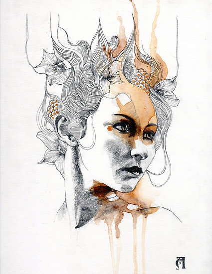 art, draw, illustration, patricia ariel, woman