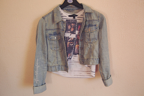 artsy, clothes, clothing, denim, fashion, jacket, jean jacket, shirt, vintage
