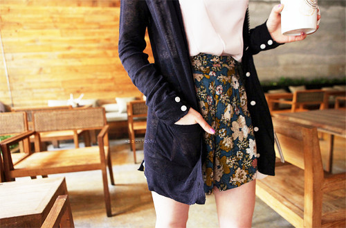 asian fashion, blouse, cardigan, coffee, cute, fashion, floral print, floral print shorts, floral print skirt, girl, high waist, high waist shorts, k fashion, photography, shorts
