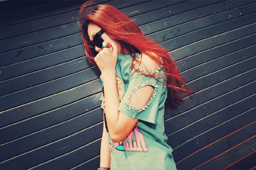 asian, fashion, girl, hair, kfashion, red, ulzzang