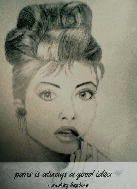 audrey hepburn, black, drawing, portrait, vintage