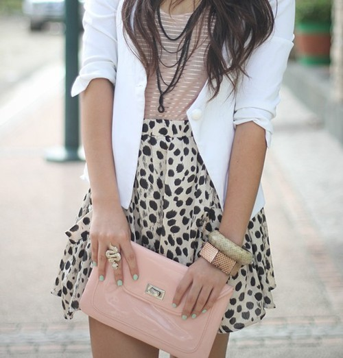 awesome, bag, beautiful, beauty, black, brown hair, cool, cute, fashion, girl, gold, green, hair, jacket, jewerly, leopard, necklace, outfit, photo, photography, pink, pretty, ring, skirt, snake, style, summer, white, woman
