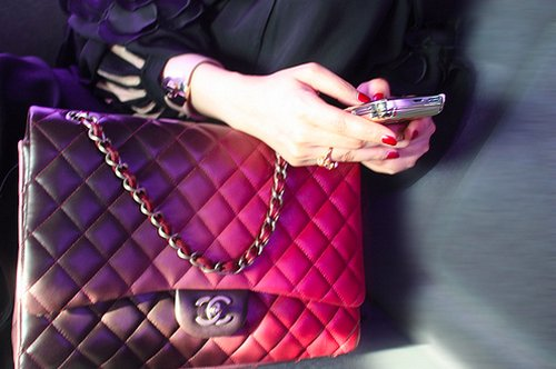 awesome, bag, chanel, cute, girl, handbag, nails, phone, pink, purple, read