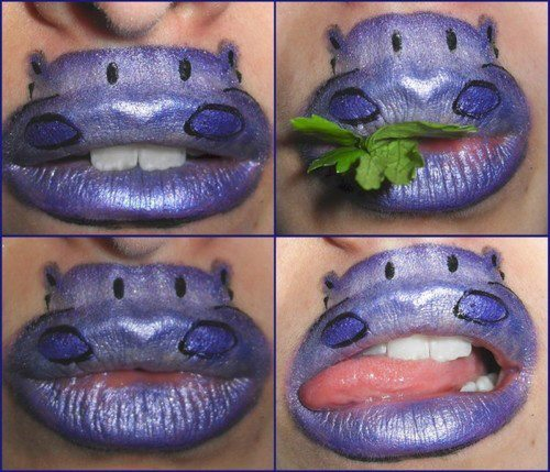 awesome, green, hippo, lips, lipstick, purple, tongue