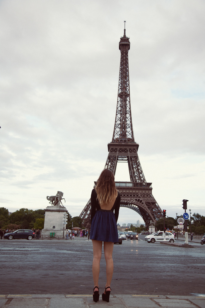 back, backless, dress, eiffel tower, fashionista
