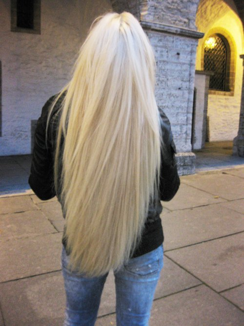 back, beautiful, blond hair, blonde, extensions, girl, hair, jeans, long hair, pretty, woman