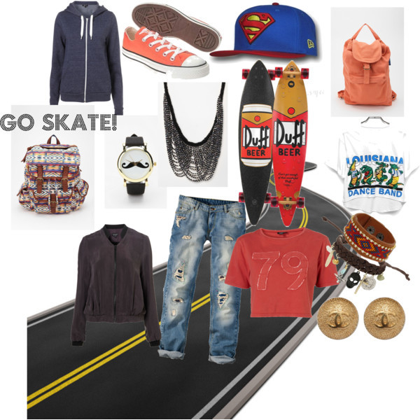 backpack, beer, bofriendjeans, cap, chanel, clock, clothing, cloths, converse, duff, fashion, girl, go skate, jeans, longboard, necklace, orange, outfit, peach, road, simpsons, skate, skateboard, superman, wish
