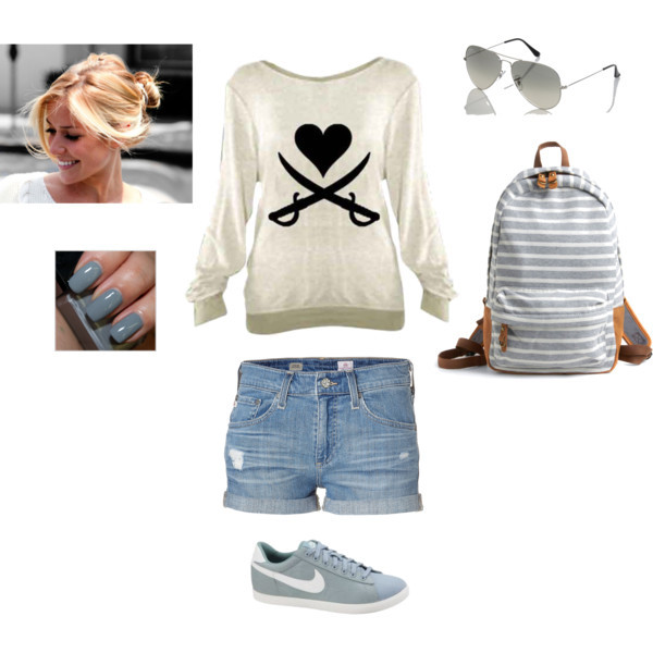 backpacks, casual day, hairstyles, polyvore, shorts, sneakers, sunglasses